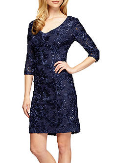 Alex Evenings Rosette with Sequin Sheath Dress