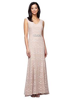 Alex Evenings Embellished Waist Lace Gown