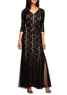 Alex Evenings Lace and Sequin Gown