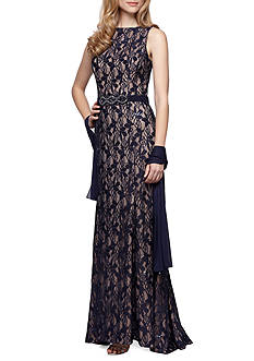 Alex Evenings Bead Embellished Gown with Shawl