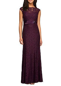 Alex Evenings Cap-Sleeve Lace Gown