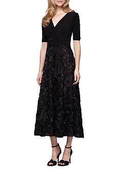 Alex Evenings T-length Rosette Party Dress