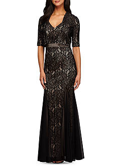 Alex Evenings Lace Gown with Bolero Jacket