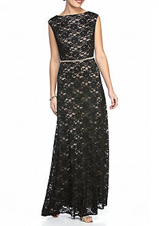 Alex Evenings Bead Embellished Waist Lace Gown