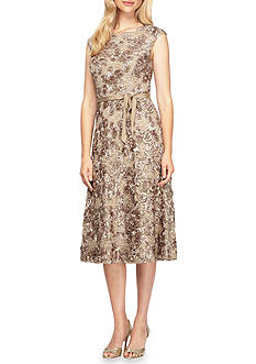 Alex Evenings Rosette T-length A-line Dress