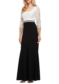 Alex Evenings Embroidered Lace Bodice Colorblock Gown