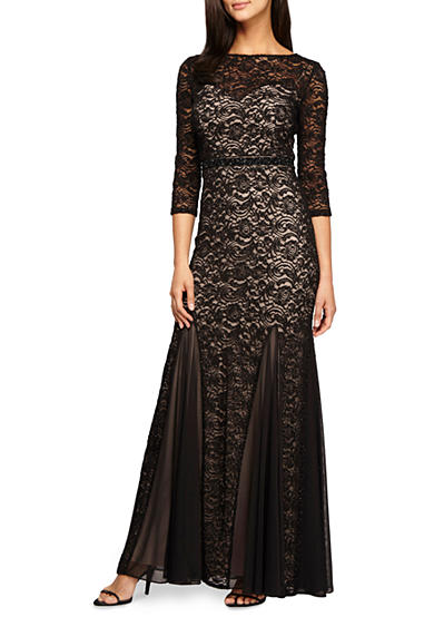 Alex Evenings Bead Embellished Waistline Lace Gown