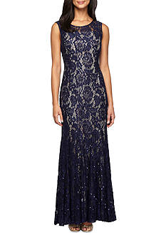 Alex Evenings Lace and Sequin Gown with Jacket