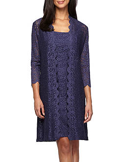 Alex Evenings Lace Elongated Jacket Dress
