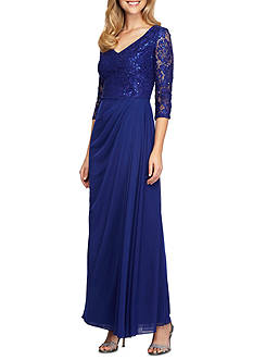 Alex Evenings Illusion Sleeve A-Line Gown