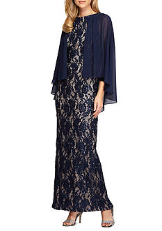 Alex Evenings Sheer Column Capelet Dress