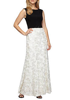 Alex Evenings Rosette Skirt Gown