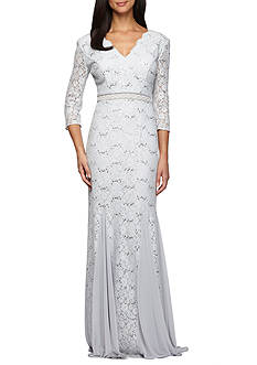 Alex Evenings V-Neck Lace Illusion Sleeve Gown