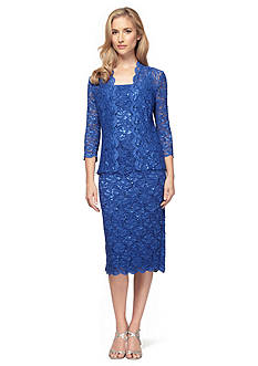 Alex Evenings Allover Lace Jacket Dress