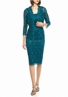Alex Evenings T-length Lace Jacket Dress