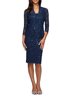Alex Evenings Lace and Sequin Jacket Dress