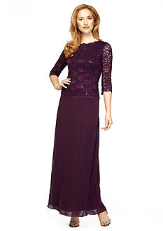 Alex Evenings Mock Two Piece Sequin and Lace Gown