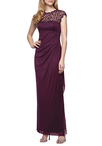 Alex Evenings Metallic Lace Empire-waist Chiffon Gown