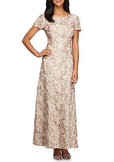 Alex Evenings A-line Rosette Gown