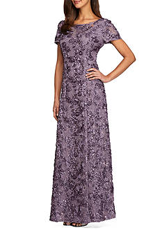 Alex Evenings Rosette Gown with Sequin