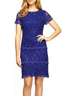 Alex Evenings Lace Triple Tiered Cocktail Dress