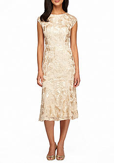 Alex Evenings Embroidered Mesh A-line Dress