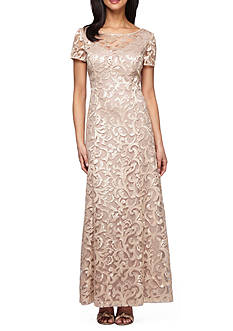 Alex Evenings Embroidered Mesh Gown with Sequin