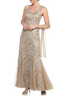 Alex Evenings V-Neck Mother of the Bride Gown