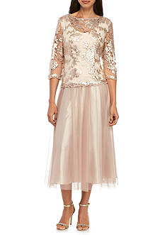 Alex Evenings T-length Mock Two-Piece Embroidered Bodice Dress