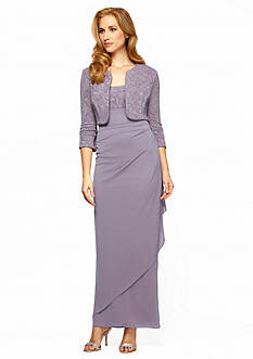 Alex Evenings Side Wrap Gown with Jacquard Bolero Jacket