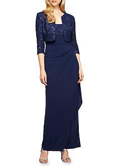 Alex Evenings Empire-Waist Gown with Bolero Jacket