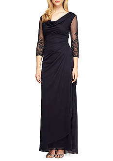 Alex Evenings Cowl-Neck Gown
