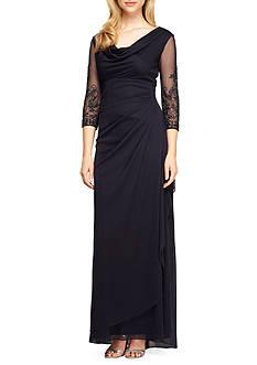 Alex Evenings Cowl-Neck Gown