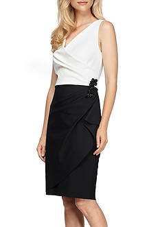Alex Evenings Surplice Neckline Colorblock Cocktail Dress