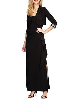 Alex Evenings Empire-waist Gown with Bolero Jacket