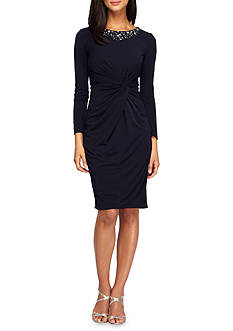 Alex Evenings Bead Embellished Twist Front Sheath Dress