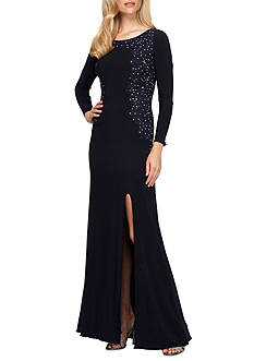 Alex Evenings Bead Embellished Embroidered Jersey Gown