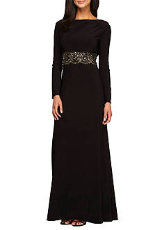 Alex Evenings Bead Embellished Waist Gown