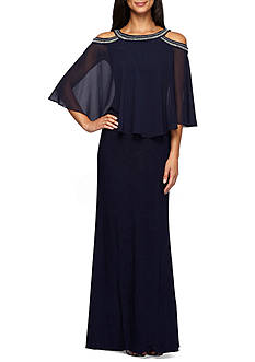 Alex Evenings Bead Embellished Cold Shoulder Popover Gown
