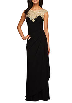 Alex Evenings Embroidered Lace Bodice Gown