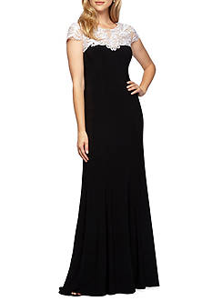 Alex Evenings Embroidered Neckline Jersey Gown