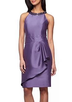 Alex Evenings Bead Embellished Halter Dress