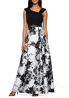 Alex Evenings Bead Embellished Floral Printed Ballgown