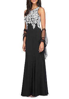 Alex Evenings Embroidered Bodice Gown with Shawl
