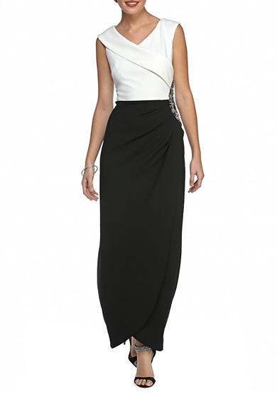 Alex Evenings Bead Embellished Colorblock Gown