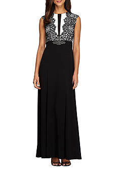 Alex Evenings Illusion Lace Bodice Gown
