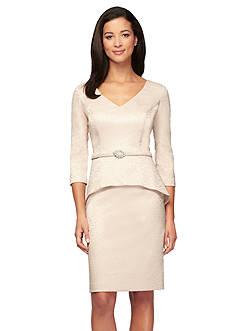 Alex Evenings Peplum Belted Dress
