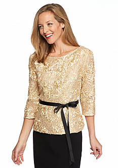 Alex Evenings Rosette Sequin Blouse