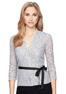 Alex Evenings Lace Blouse with Ribbon Belt