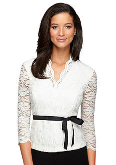 Alex Evenings Lace Blouse with Ribbon Self Tie Belt